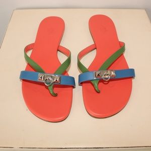 Hermes Leather Corfou Clause Pyramides Sandals